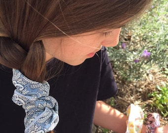 SCRUNCHIE made in Liberty Fabric - hair accessories for women and children. Liberty print Chambray Denim (Blue) one