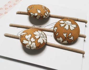 LIBERTY BUTTON Hair-ties Constructed from Liberty Fabric Cotton Tana Lawn set of three (3) Capel G mustard