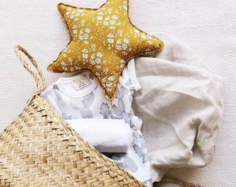 LIBERTY STAR PILLOW constructed from Liberty Art Fabric Capel G (mustard)