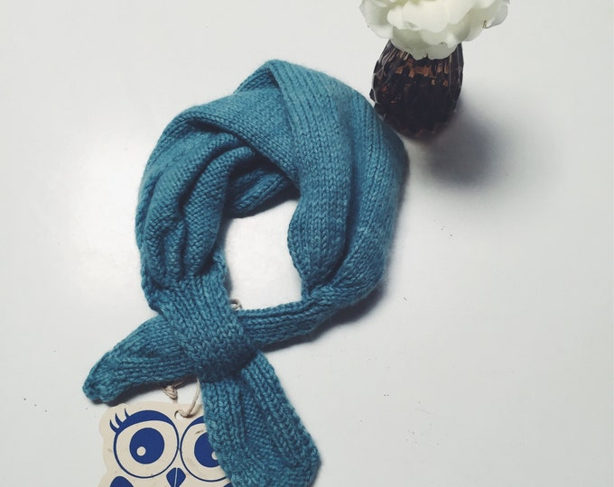 CHILDREN's NECK SCARF by Blue Ullu constructed in Light Blue Angora Wool blend yarn. Ethically produced size 12-24 months