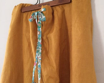 MAXI SKIRT Women's Maxi skirt small-med or large 100% Mustard Linen