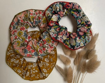 SCRUNCHIE SET OF 3 // made with Liberty Fabric Tana Lawn// hair accessories // Liberty print Poppy + Daisy 19A, Capel G, Thorpe C