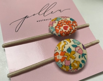 BUTTON HAIR TIES // Constructed from Liberty Fabric Cotton Tana Lawn // set of two (2) //Liberty print Michelle C (citrus).