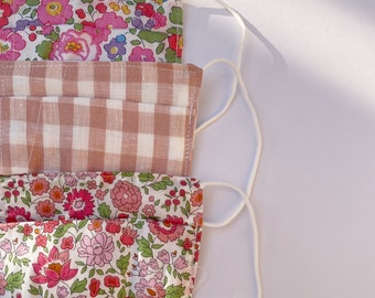 ADULT FACE MASK - Liberty Fabric - (not medical grade) Tana Lawn outer, or Linen outer Soft cotton masks. Pack of 3 Size - Adult