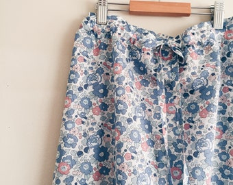 MAXI SKIRT // women's long skirt constructed in Liberty tana lawn // Print Betsy B (Peach/Blue) // pockets // tie-elastic waist