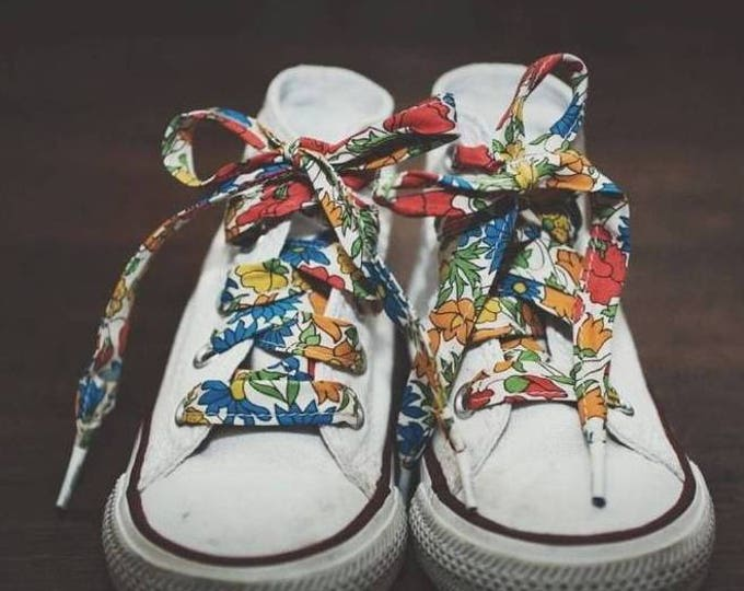 LIBERTY Fabric PRINT SHOELACES in adult and children's sizes - Poppy & Daisy M (bright)
