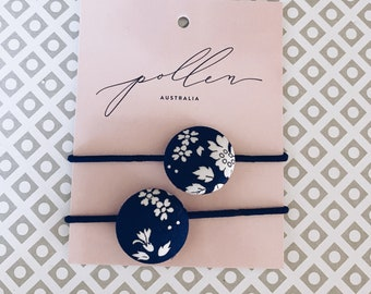 BUTTON HAIR TIES // Constructed from Liberty Fabric Tana Lawn // set of two (2) // Liberty print Capel 19A (navy)