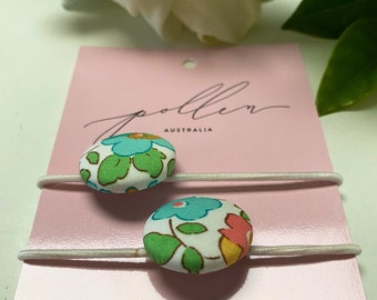 BUTTON HAIR TIES // Constructed from Liberty Fabric Tana Lawn // set of two (2) // Liberty print Betsy D (green)