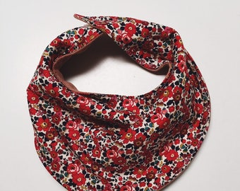The Esther BABY BIB constructed in Liberty print Betsy Ann (deep red) Available in 5 sizes