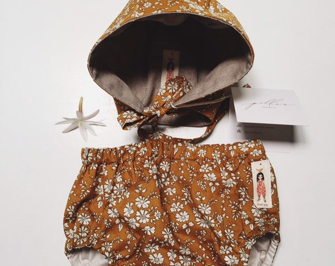 BONNET and BLOOMER SET - Diaper cover + Coco bonnet Constructed from Liberty Fabric Cotton Tana Lawn Capel G (mustard)