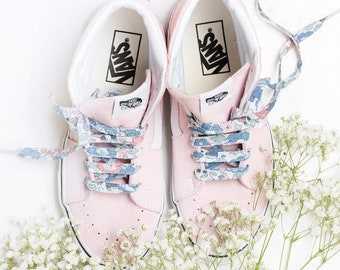 LIBERTY FABRIC SHOELACES // Made with Liberty Fabric in adult and children's sizes - Betsy B (blue/peach)
