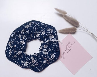 SCRUNCHIE made in Liberty Fabric - hair accessories for women and children. Liberty print Capel 19A (Navy) one