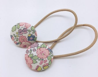 LIBERTY BUTTON Hair-ties Constructed from Liberty Fabric Cotton Tana Lawn set of two (2) Betsy Ann P (light pink)