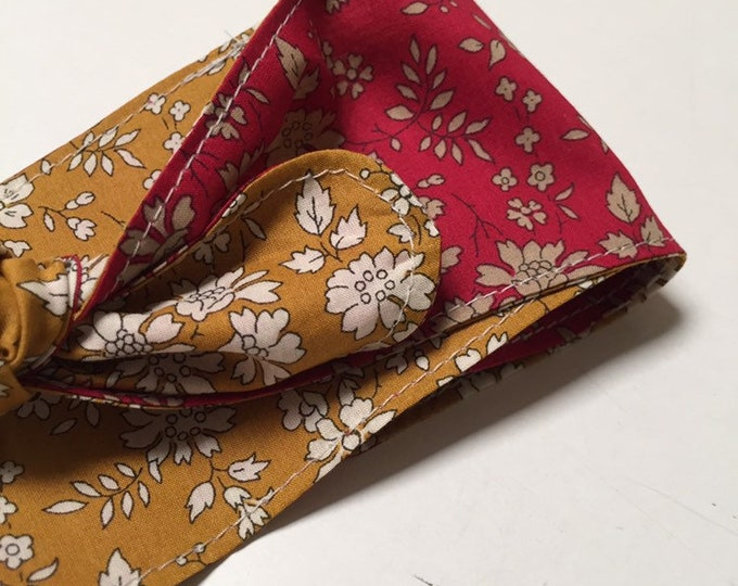 Liberty Fabric KNOT HEADBAND Constructed from Liberty Fabric Cotton Tana Lawn Capel F (red) + Capel G (mustard)