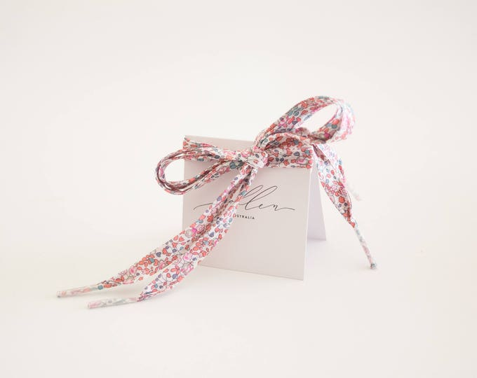 LIBERTY PRINT SHOELACES in adult and children's sizes - Eloise C (apricot)