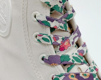 LIBERTY FABRIC SHOELACES // Made with Liberty Fabric in adult and children's sizes   - Betsy E-W (purple)