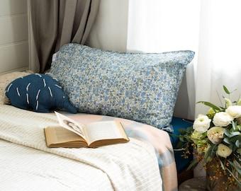 Single LUXE LIBERTY PILLOWCASE // Made with Liberty Fabrics Tana Lawn // Poppy+Daisy 19B (blue) // Standard Size