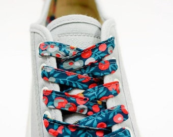 SHOELACES made in LIBERTY FABRIC Adult and children's shoelaces in Liberty print Wiltshire 19B (navy-mustard)