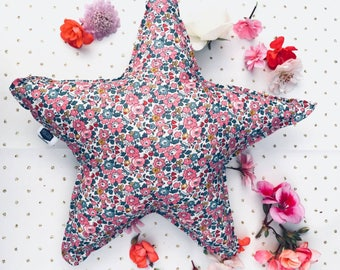 LIBERTY STAR PILLOW constructed from Liberty Art Fabric Betsy Ann E dark pink