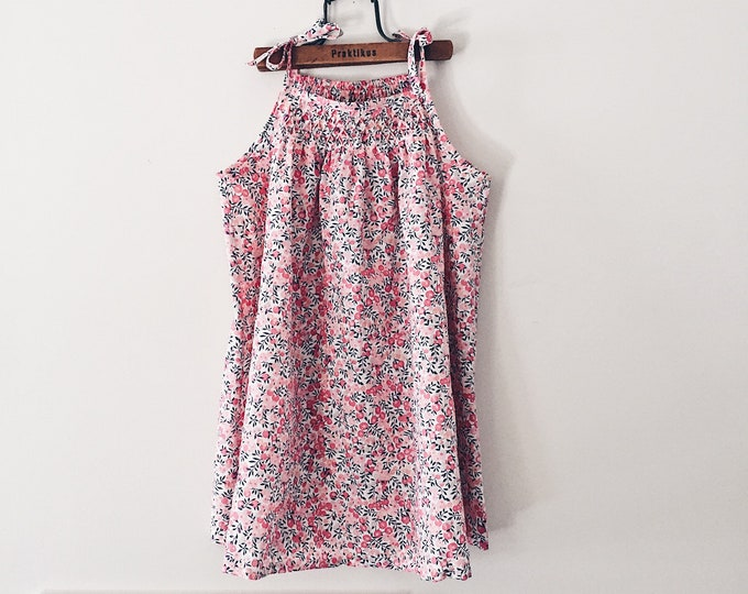 The HONEYCOMB Top or Dress constructed in Liberty Art Fabric print Wiltshire D (apricot) Girls sizes 3 years - 8 years