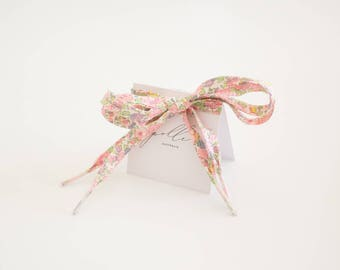 LIBERTY PRINT SHOELACES in adult and children's sizes - Betsy Ann P (light pink)