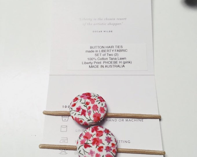 LIBERTY BUTTON Hair-Ties. Made in Liberty Fabric. Set of Two (2) Elastic Hair Ties. PHOEBE H (pink)