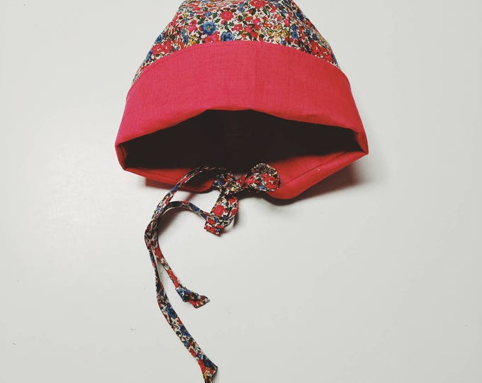 COCO BABY BONNET vintage style baby hat in Liberty Art tana lawn fabric Emma+Georgina (red)