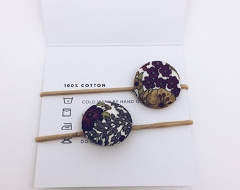 LIBERTY BUTTON Hair-ties Constructed from Liberty Fabric Cotton Tana Lawn set of two (2) Margaret Annie C (mulberry)