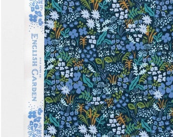 FABRIC SHOELACES - Rifle Paper Co. cotton fabric laces. Constructed in print English Garden - blue