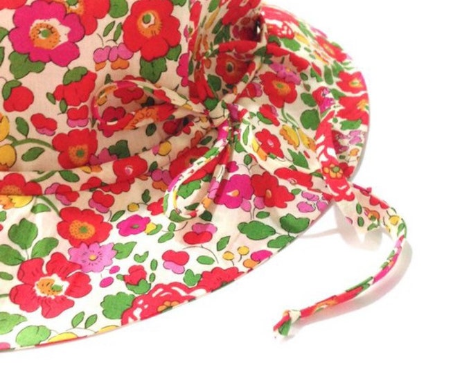 BONNY BRIMMED HAT constructed from Liberty Art fabric Betsy S (red) lined in Red or White Linen