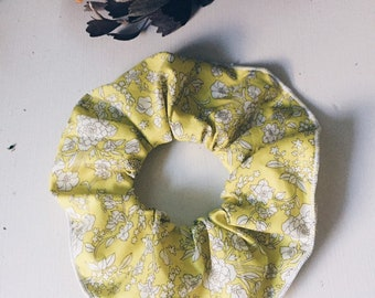 SCRUNCHIE made in Liberty Fabric - hair accessories for women and children. Liberty print Wild Flowers (yellow) one