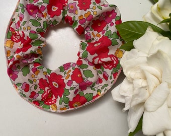 SCRUNCHIE made in Liberty Fabric - hair accessories for women and children. Liberty print Betsy S (Red) one