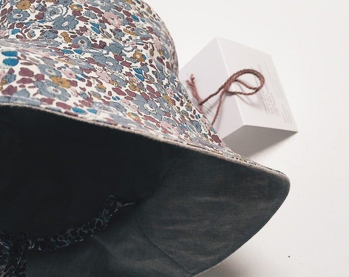 BONNY BRIMMED HAT constructed from Liberty Art fabric Betsy (blue) lined in White or Natural Linen