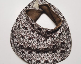 The Esther BABY BIB constructed in Liberty print Wolf Pack (brown)Available in 5 sizes