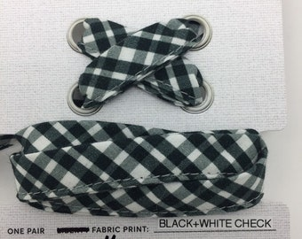 GINGHAM FABRIC SHOELACES in adult and children's sizes - Black and White Gingham Cotton Fabric Shoelaces