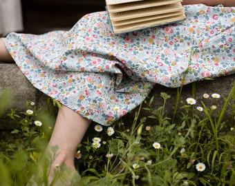 MAXI SKIRT // women's long skirt constructed in Liberty tana lawn // Print Betsy P (grey)