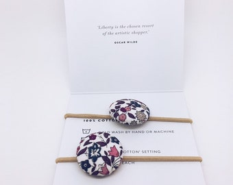 LIBERTY BUTTON Hair-ties Constructed from Liberty Fabric Cotton Tana Lawn set of two (2)