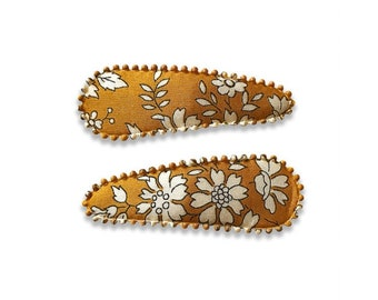 "LIBERTY PRINT HAIRCLIPS handmade by Josie Joan's ""Rachel"" in Capel G (Mustard)"