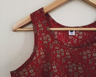 WOMEN'S TANK TOP constructed in LibertyArt Fabric tana lawn Capel Red