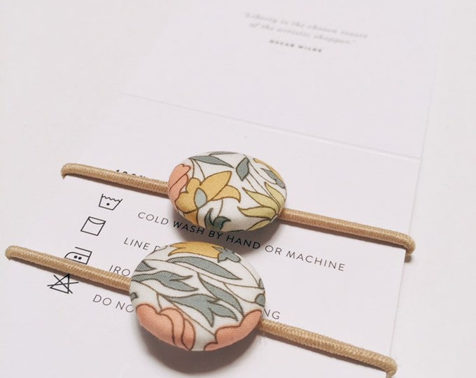LIBERTY BUTTON Hair-ties Constructed from Liberty Fabric Cotton Tana Lawn set of two (2) Poppy+Daisy Limited Edition