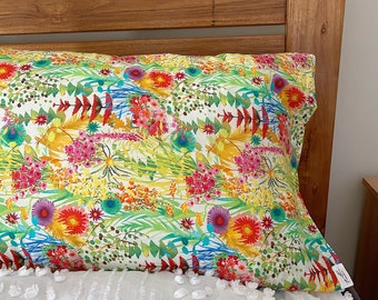 Single LUXE LIBERTY PILLOWCASE // Made with Liberty Fabrics Tana Lawn// Liberty print Tresco A // Standard Size