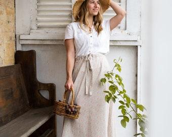MAXI SKIRT // women's long skirt constructed in Liberty tana lawn // Print Katie+ Millie B ( peach)