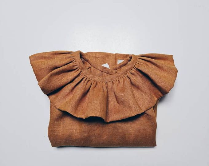 FRILLED ZINNIA BLOUSE constructed in mustard linen