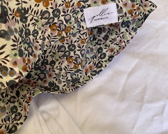Organic Single LUXE LIBERTY PILLOWCASE // Made with Liberty Fabric Tana Lawn // Liberty print Wiltshire A (Petrol/Mauve) // Standard Size