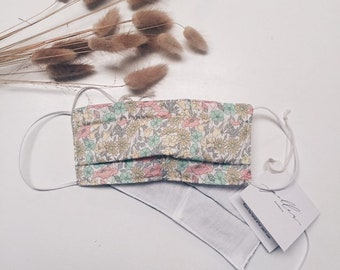ADULT FACE MASK - Liberty Fabric (not medical grade) Soft cotton mask. Liberty print Poppy+Daisy B (Peach/Lemon) Size - Adult