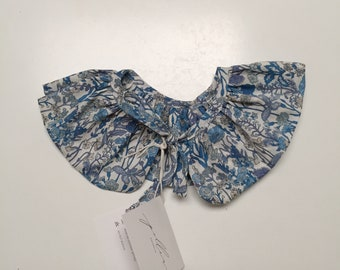 LIBERTY RUFFLE Collar Liberty Art Fabric Flowers A (blue) Children and Women's sizes