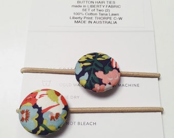 Liberty BUTTON Hair-ties Constructed from Liberty Fabric Cotton Tana Lawn set of two (2) Liberty print THORPE C (navy)