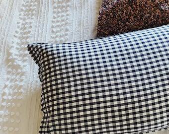 PILLOWCASE    Navy and White Gingham Check    100% Linen    Standard Size    Single Pillowcase