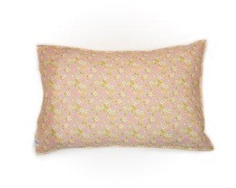 Single LUXE LIBERTY PILLOWCASE // Made with Liberty Fabrics Tana Lawn// Liberty print Primrose Path B (pink/lemon)// Standard Size