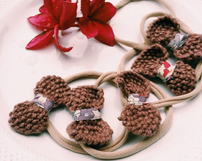 BOW-PEEP Knitted Bow Hairband. Hair Accessories. Liberty Fabric.